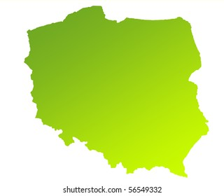 Green gradient map of Poland isolated on a white background.