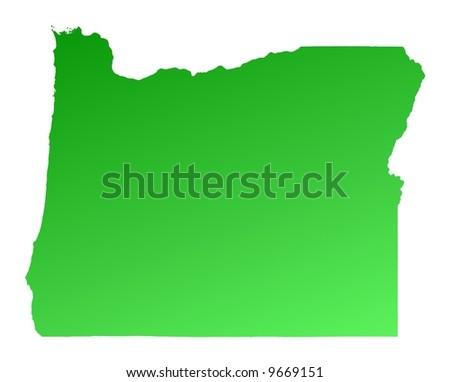 Green Gradient Oregon Map USA Detailed Stock Illustration 9669151 ...