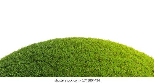 Grüner Gras Hummock auf weißem Hintergrund 3d Rendering