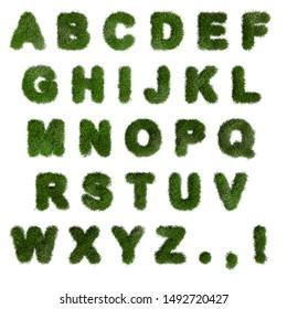 Green Grass Alphabet. English letters. Font. 3d render