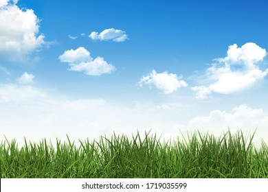 Green grass and blue sky with clouds. 3D illustration