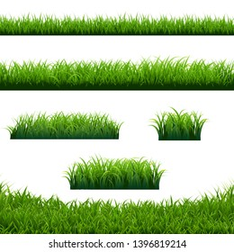 Green Grass Borders Big Set White Background