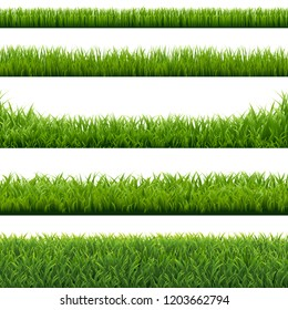 Green Grass Borders Set Background