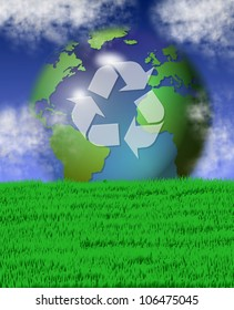 green grass field and blue sky with recycle symbol on earth in the background / recycling earth