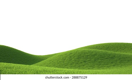 green grass field , ideal landscape 3D render