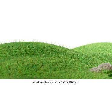 Green grass field on small hills and blue sky with clouds in white isolate background 3d render