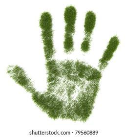 Green grass growing hand print