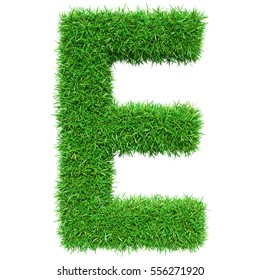 b200261f3 Green Grass Letter E. Isolated On White Background. Font For Your Design. 3D