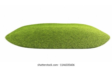 Green grass on white background 3d renderings