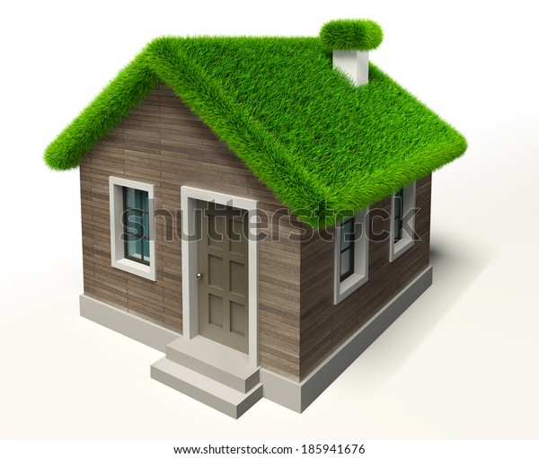 green grass roof house ecology concept. clipping path included