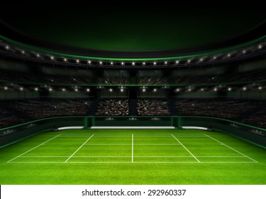 green grass tennis stadium with evening sky sport theme render illustration background own design