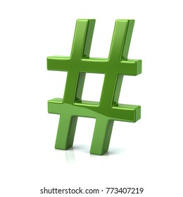 Green hashtags icon 3d illustration on white background