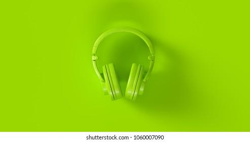 Green Headphones 3d illustration