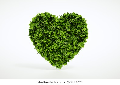 Green heart isolated on white background. 3d illustration.