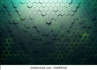 Green hexagon pattern. 3D Rendering
