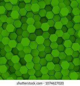 Green hexagon pattern backgrond. 3d rendering