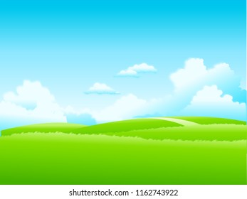 green hills against the sky. illustration