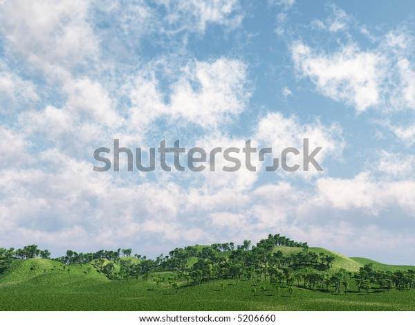 Green hills and beautiful sky  with clouds - 3d scene