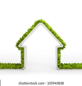 Green home symbol covered with leafs