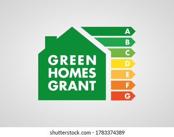 Green Homes Grant scheme badge icon. Green deal. UK 2020. Energy efficient home improvements