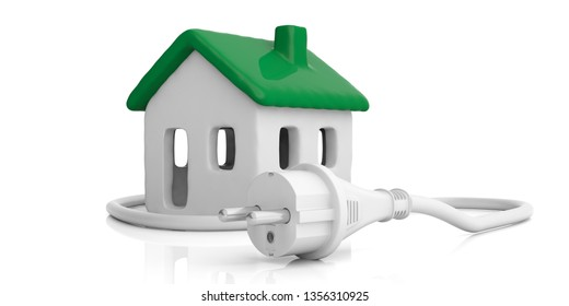 Green house, alternative energy, House model with green color roof and electric plug isolated against white background. 3d illustration