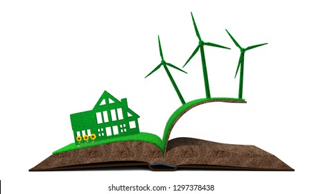 Green house, green energy and circular economy concept, green house and wind turbines on grass soil in book shape with sunflowers, isolated on white, 3D illustration.