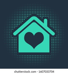 Green House with heart shape icon isolated on blue background. Love home symbol. Family, real estate and realty. Abstract circle random dots.