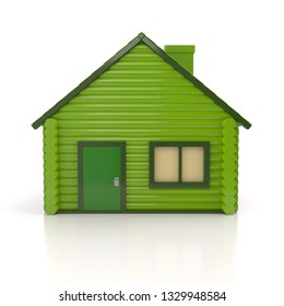 Green house icon 3d illustration on white background