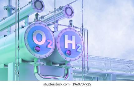 Grüner Wasserstoff, zukünftige Energie h2 Brennstoff 3D-Illustration. Grüne Wasserstoffproduktion durch Elektrolysetechnologie, erneuerbare Elektrizität, alternative Öko-Methode zur Wasserstoffherstellung H2, Verringerung der Emissionen der Industrie