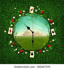 Green illustration with  hole in the form of clock