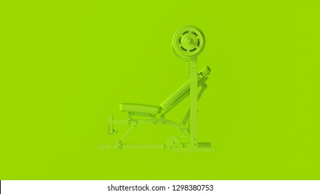 Green Incline Weight Bench 3d illustration