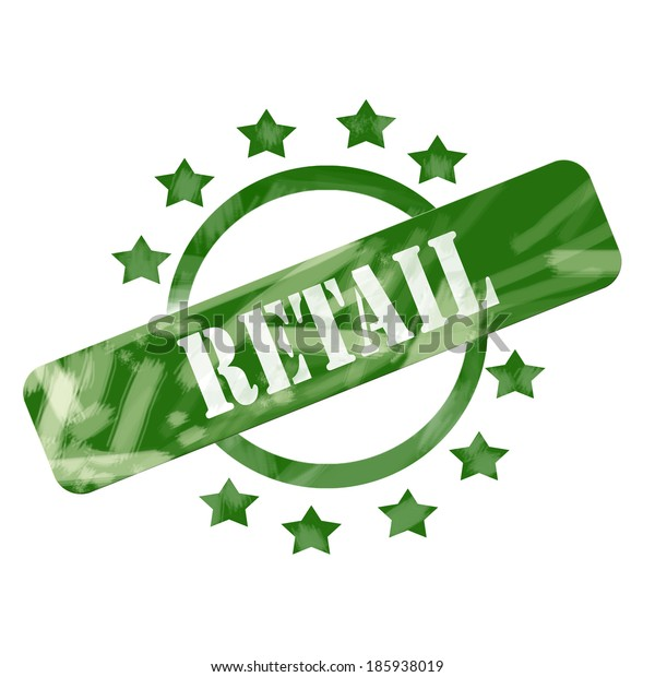 A green ink weathered roughed up circle and stars stamp design with the word RETAIL on it making a great concept.