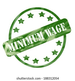 A green ink weathered roughed up circles and stars stamp design with the words MINIMUM WAGE on it making a great concept.