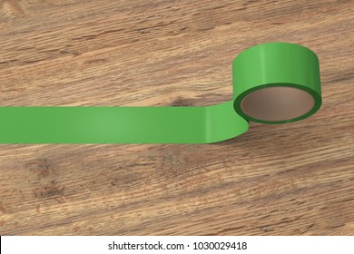 Green insulating tape roll on wooden background. 3d illustration.