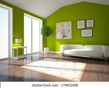 Green interior of a living room