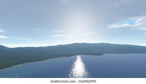 Green island in the Atlantic Ocean, Sao Miguel, Azores, Portugal 3d illustration