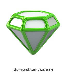 Green jewelry icon 3d illustration on white background