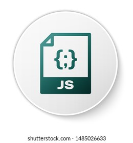 Green JS file document icon. Download js button icon isolated on white background. JS file symbol. White circle button