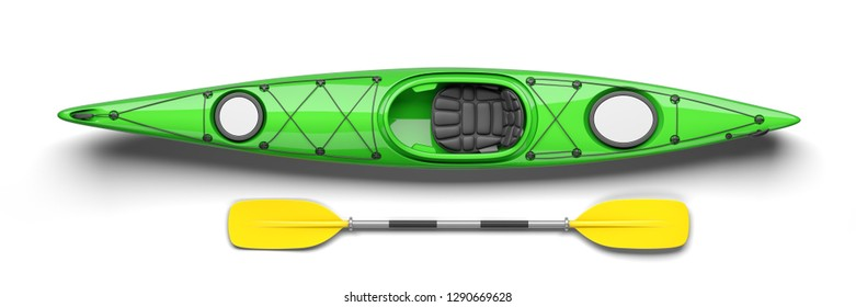 Green kayak and oar on top view 3D. Isolated on white background