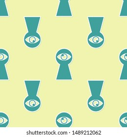 Green Keyhole with eye icon isolated seamless pattern on yellow background. The eye looks into the keyhole. Keyhole eye hole