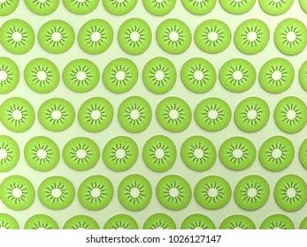 Green kiwis on green background
