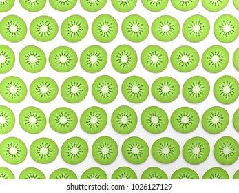 Green kiwis on white background