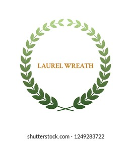 Green laurel wreath isolated on white background