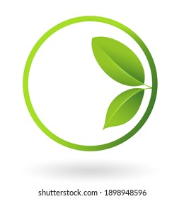 Green leafs logo in a circle. illustration.
