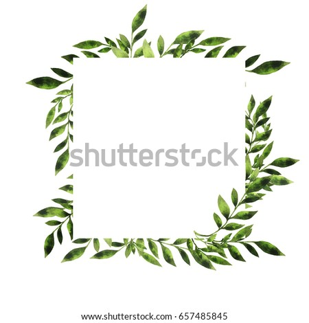 Green Leaves Branches Border Design Greeting Stock Illustration