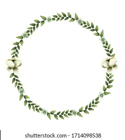 green leaves with flowers cotton in wreath