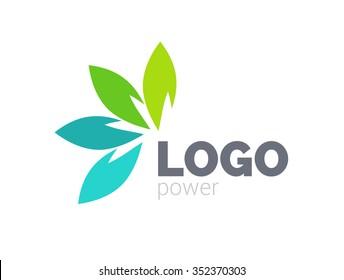 Green leaves logo design. Four leaves logotype