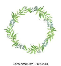 Green leaves natural wreath watercolor Illustration  Beautiful in nature for decor greeting card, Wedding card,Spring Summer season isolated