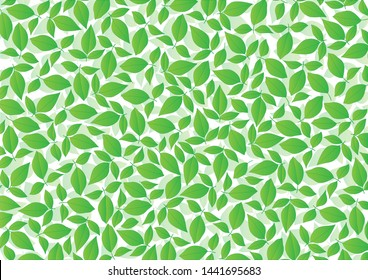 Green leaves pattern on white background.