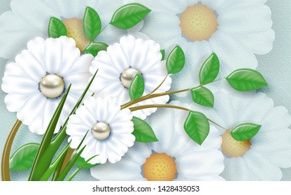 GREEN LEAVES WITH PERL FLOWER AND TEXTURE BACKGROUND - ILLUSTRATION